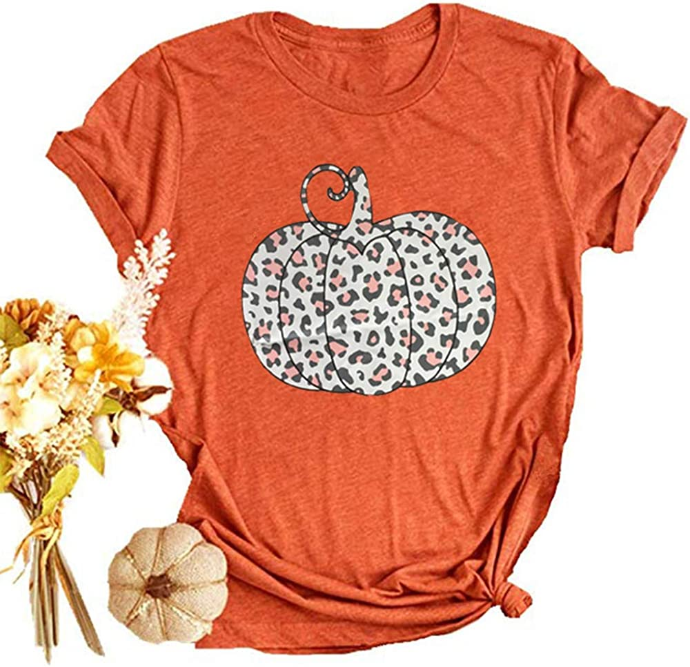 Woffccrd Womens Funny Leopard Pumpkin Printed Shirts Halloween Short Sleeve Graphic Tees Fall T-Shirts Tops: Clothing
