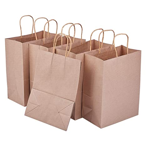 BENECREAT 20 Pack Bolsas de Regalo de Papel Kraft con Asas Compras, Mercancía, Venta al por Menor, Fiesta, Boda, Papel 100% Reciclado Marrón Natural