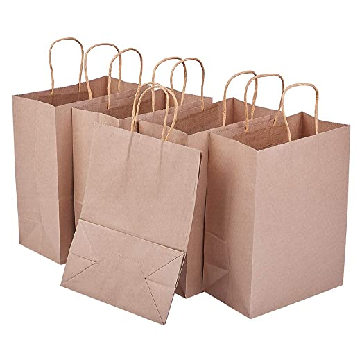 BENECREAT 20 Pack Bolsas de Regalo de Papel Kraft con Asas Compras, Mercancía, Venta al por Menor, Fiesta, Boda, Papel 100% Reciclado Marrón Natural