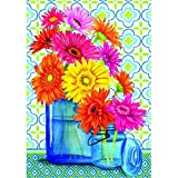 "Cheap ""Gerbera Jars"" – Summer – STANDARD Size, 28 Inch X 40 Inch, Decorative Double Sided Flag – Exclusively Made in the USA – Copyrights and Licensed by Custom Decor Inc."