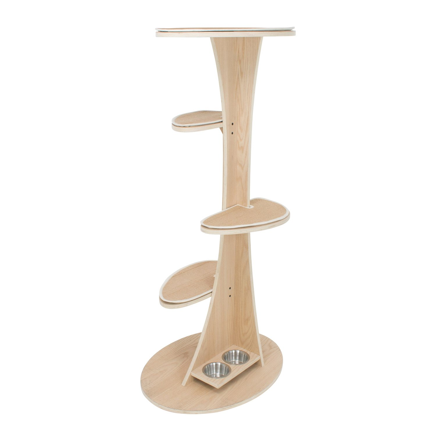 Frontpet Futuristic Wooden Cat Tree With Natural Wood Finish & Built In 5in. Food Bowls: Cat Tower 60in High x 30in Base