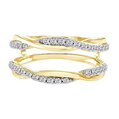 033 ct solitaire cubic zirconia guard wrap ring enhancer wedding band 14k yellow gold toned - Wedding Ring Enhancer