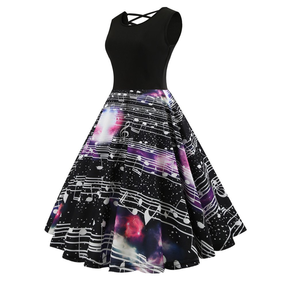 Women Dress Godathe Fashion Women Vintage Rounch Neck Evening Printing Party Prom Swing Dress S-2XL at Amazon Womens Clothing store: