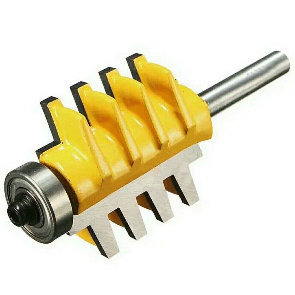 1/4 inch Shank Router Bit, Baowox Reversible Finger Joint Glue Joinery Bits Cone Tenon Woodwork Cutter Tool (1/4 Shank)