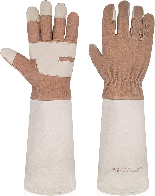Gardening Gloves for Women & Men, Leather Long Sleeve Rose Pruning Gloves, Thorn Proof Garden Work Gauntlet