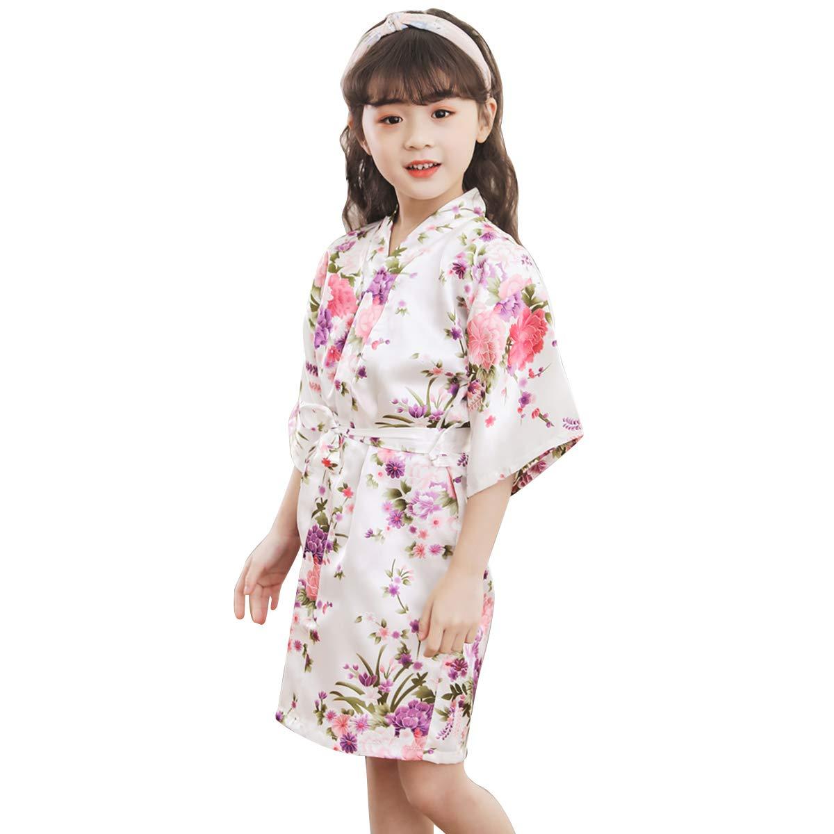 Kids Girls Floral Print Kimono Robe Soft Bathrobe Nightgown Sleepwear Loungewear