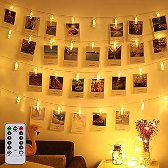 Clip Cadena de Luces LED, AOLUXLM 40 LED 5M Foto Clips Cadena de luces Blanco