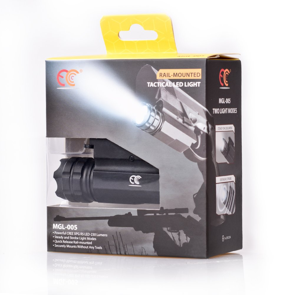 MCCC 230 Lumens LED Rail Mount Tactical Gun Flashlight Pistol Light with Strobe&Weaver Quick Release for Hunting, Black by MCCC (Image #7)