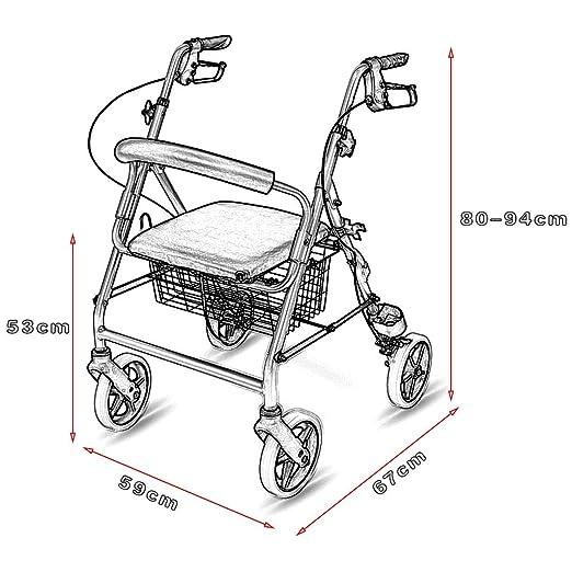 ZXXX Apto para Ancianos y Andador de 4 Ruedas, Andador Plegable de ...