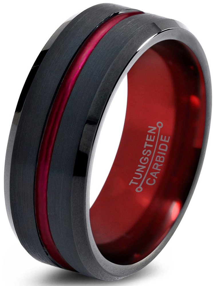 Tungsten Wedding Band Ring 8mm for Men Women Red Black Beveled Edge Brushed Polished Size 10