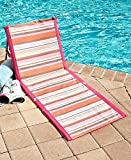MattsGlobal Classic Compact and Lightweight Striped Folding Beach Loungers (Pink/Orange)
