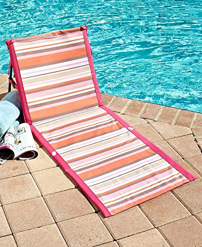 MattsGlobal Classic Compact and Lightweight Striped Folding Beach Loungers (Pink/Orange) by MattsGlobal