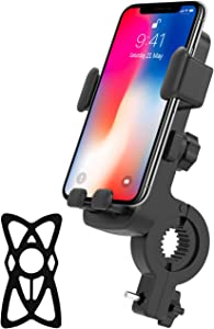 Bike & Motorcycle Phone Mount Anti Shake 360 Rotation Universal Bicycle Motorcycle Phone Mount Holder Bike Accessories Compatible with Any Smartphones GPS Other Devices Between 4.7 and 6.5 inches