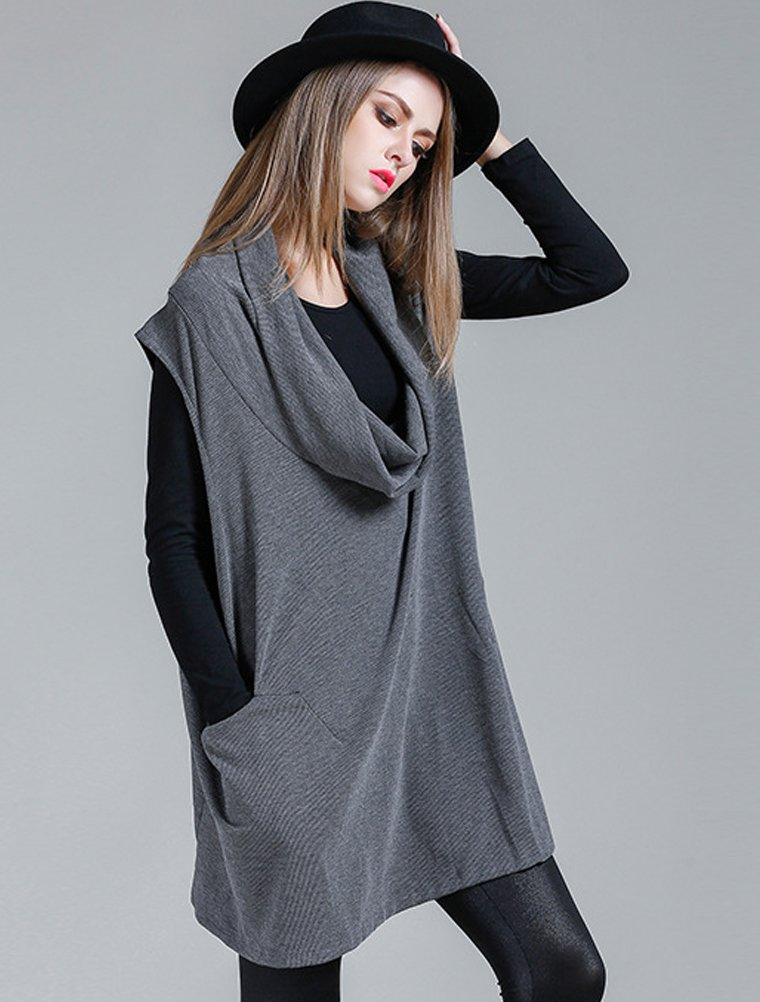 Mordenmiss Women's Oversized Sweater Spring Day Bat Shirt (Style 4 Gray) by Mordenmiss (Image #5)