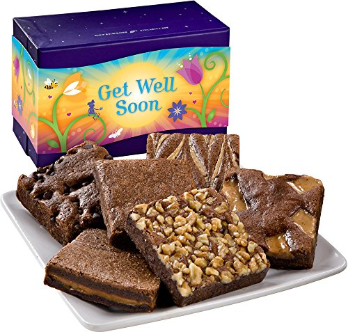 Fairytale Brownies Get Well Half-Dozen Gourmet Food Gift Basket Chocolate Box - 3 Inch Square Full-Size Brownies - 6 Pieces