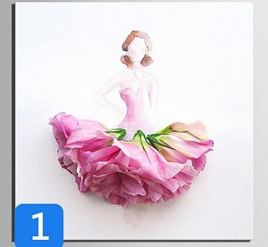 GL&G Arte de la pared Falda de la flor Patrones de la mujer de las ...