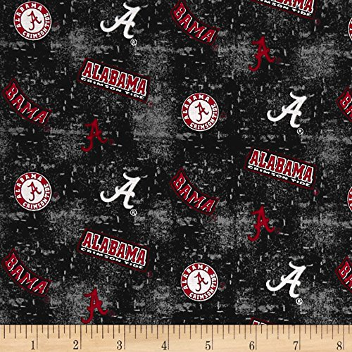 Sykel Enterprises NCAA University of Alabama Crimson Tide Tossed Distressed Logo Fabric by The Yard