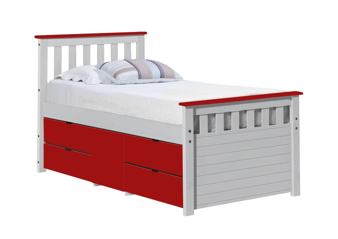 Design Vicenza Captains Ferrara Aufbewahrung Bett lang 3'0Weiß und Rot