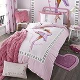Catherine Lansfield Kids Childrens Boys Girls Duvet Cover Bedding Set - Ballerina Pink - UK Double