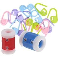 Segolike 20 Pieces Plastic Stitch holder markers and 2mm to 8mm Small Large Knitting Needle Row Counter