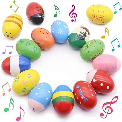 Huevos de madera 2 piezas de colores arena percusi/ón instrumentos musicales juguetes ni/ños regalos de halloween patr/ón aleatorio