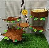 Hot Sale! 5 Pcs Sugar Glider Hamster Squirrel Chinchillas Small Pet Light Brown Edge Cushion Cage Set Forest Pattern - Polar Bear's Republic