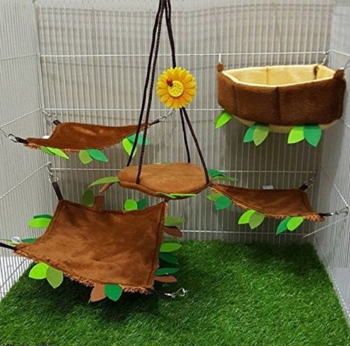 [Hot Sale! 5 Pcs Sugar Glider Hamster Squirrel Chinchillas Small Pet Light Brown Edge Cushion Cage Set Forest Pattern, Polar Bear's Republic] (Chinchilla Pet Costumes)