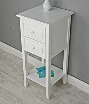 Telephone Table White Antique Style Side Table Wood: Amazon.co.uk: Kitchen  U0026 Home