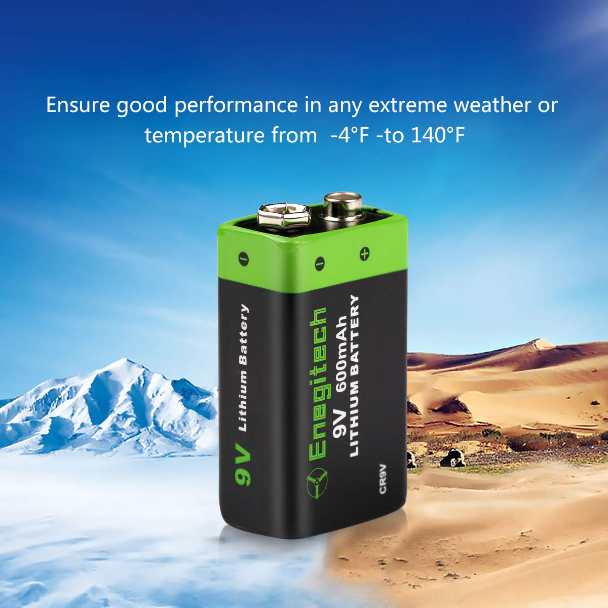 Enegitech 9V Lithium Battery 600mAh Non-Rechargeable Li-ion Battery for Smoke Detector Fire Alarm Multimeter, 8-Pack by Enegitech