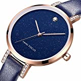 AMPM24 Women's Genuine Leather Band Watch Starlight Dial Quartz Lady Watch for Women WWB001