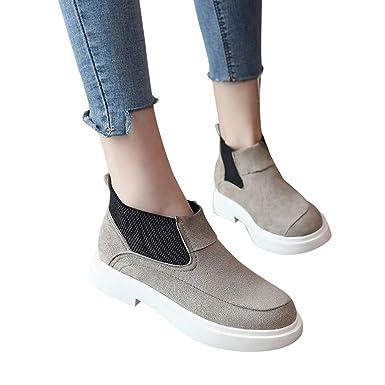❤ Botas Corta Mujer de Invierno Plana, Moda Mujer Zapatos Planos en Color Liso Botas Martain Botas sin Cordones Zapatos de Punta Redonda Absolute: ...