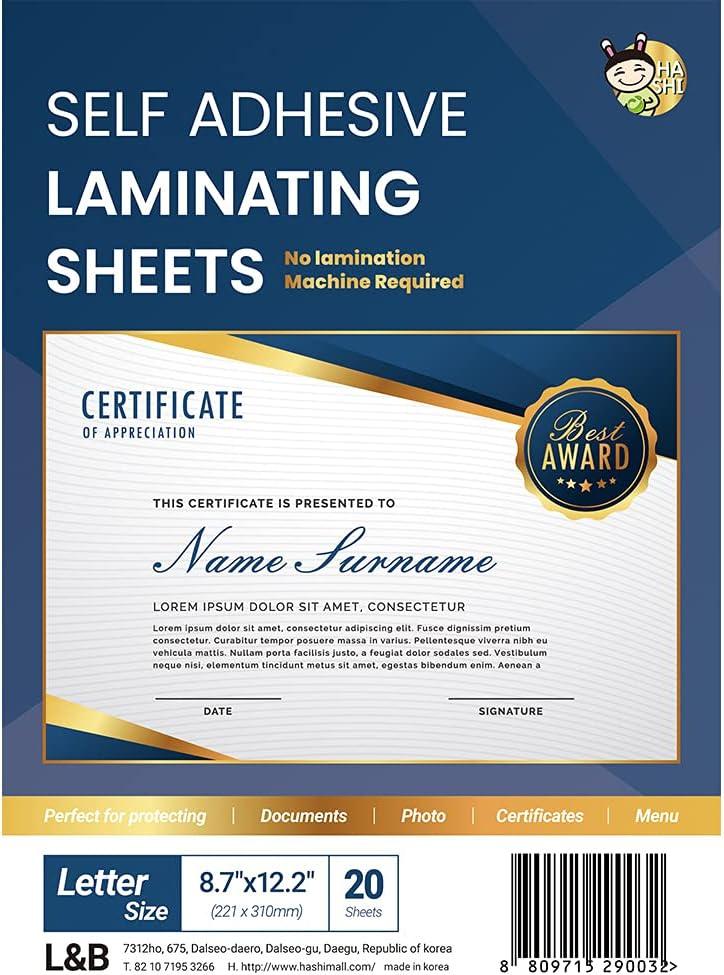 (20 Sheets) HASHI Self Adhesive Laminating Sheets, Pouches, No Machine Need, No Heat, Letter Size, 9 x 12 Inch