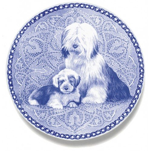 Skan Lekven Tibetan Terrier & Puppy Danish Blue Porcelain Plate #3055