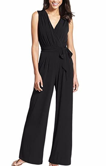 f257bc284c Sexyshine Women s Sexy Deep V Neck Sleeveless Wide Leg Belted Loose Plunge  Jumpsuits Rompers(BL