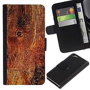 KingStore / Leather Etui en cuir / Apple Iphone 6 / Estructura de madera de la textura del material Marrón Naturaleza