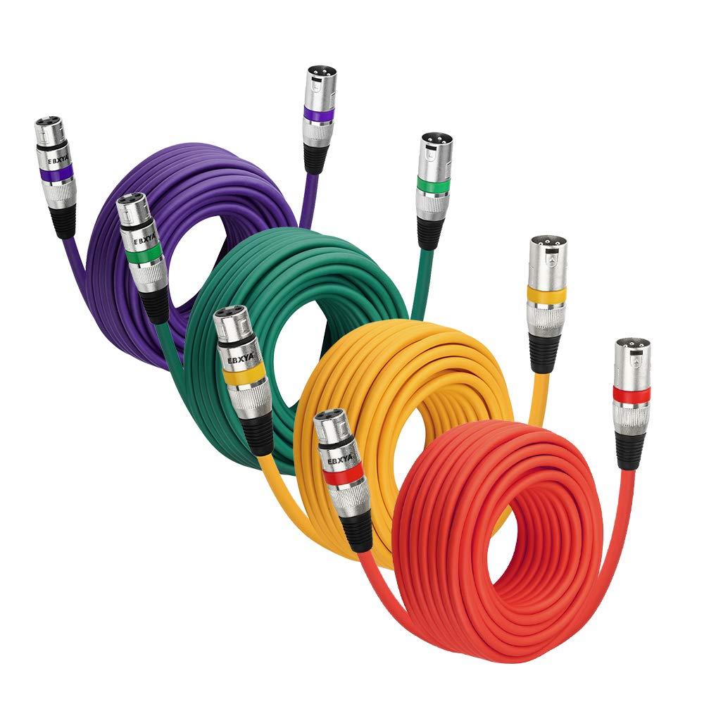 4 Cables Cannon XLR 15mt Multicolor DMX 512 Mixer EBXYA