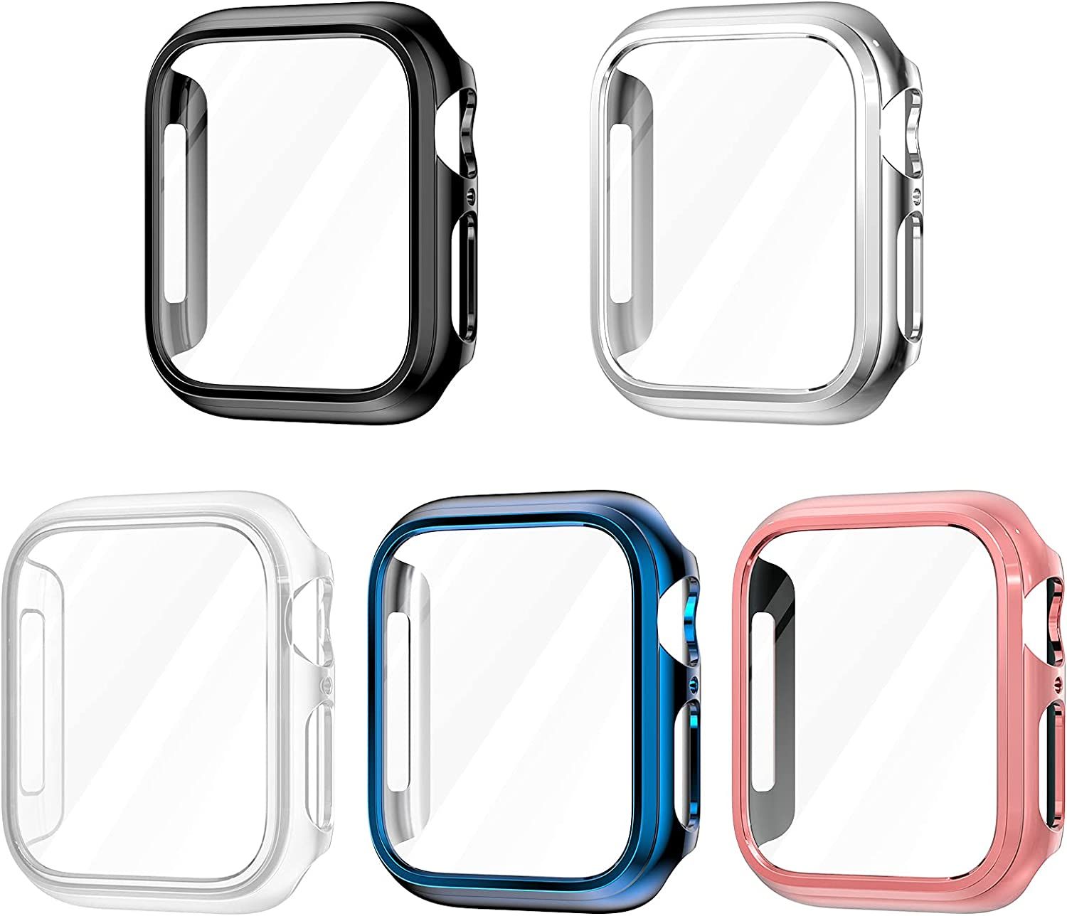 [5 Pack] MRAIN-H for Apple Watch Case 44mm 40mm, Hard PC with Ultra-Thin PET Screen Protector for Apple Watch Series 6/5/4/SE, Black, Silver, Clear, Blue, Rose Gold