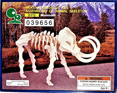 Der Grune Punky Wooden Dinosaur Kits Assembling of Animal Skeleton, Mammoth