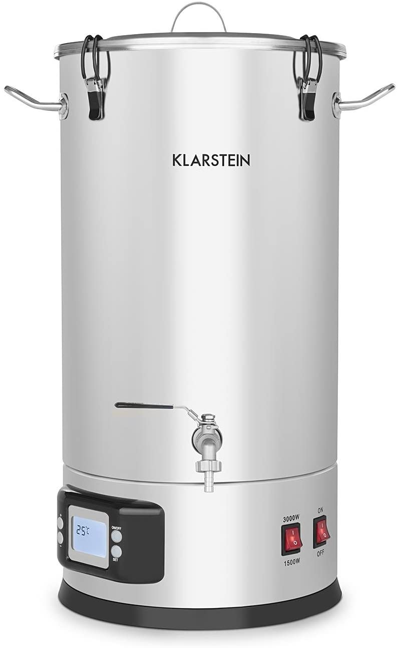 Klarstein Maischfest, Beer Brewing Device, Mash Tun, 5-Piece Set, 1000 and 1600 Watts Power, LCD Display and Touch Control Panel, Temperature, Stainless Steel, 25 Liter / 6.6 Gallon