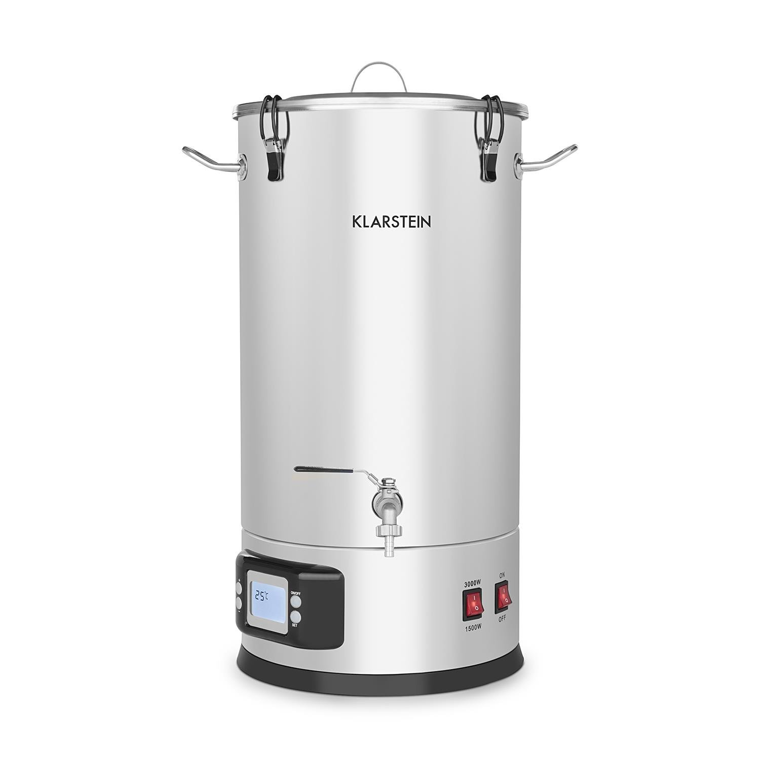 Klarstein Maischfest Mash Kettle - Mash Tank, 5 Pieces, 1500/3000W, 25 litres, LCD Touch, Hygienic, Easy Cleaning, Even Temperature Distribution, Stainless Steel, Silver