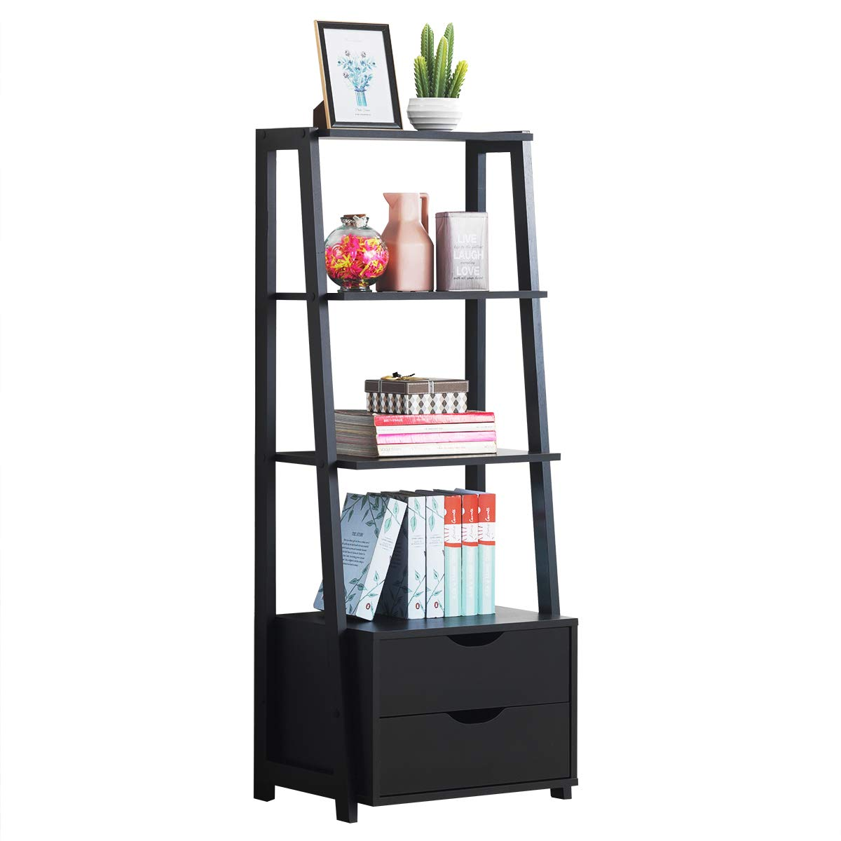 Tangkula Ladder Shelf Bookcase, Free Standing 4-Tier Bookshelf with 2 Storage Drawers, Modern Storage Display Shelving with Drawers, Ideal for Bathroom Home Office (Black)