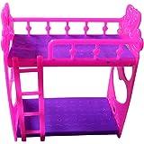 Blackzone Cartoon Plastic Bunk Bed Furniture Kids Toy Accessories for Barbie Dolls House