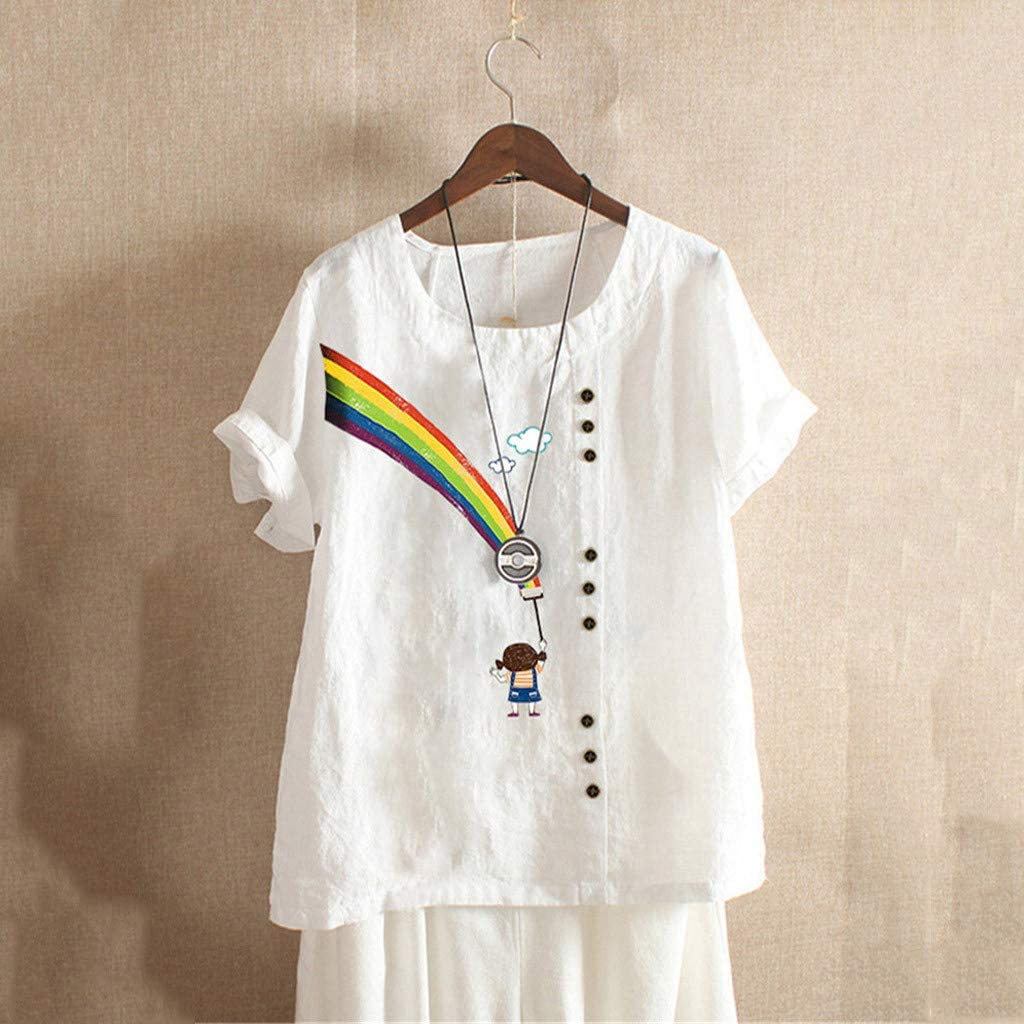 Short Sleeve Cotton Shirts for Women Loose Rainbow Graphic Short Sleeve Linen Blouse T Shirt Tops Plus Size M-5XL