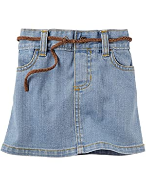 Girl's Belted Jean Skirt, Light Denim