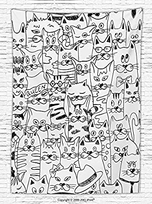 Psychedelic Decor Fleece Throw Blanket Cats with Costumes Bow Ties Humor Kitty Animal Childish Sketch Style Illustration Throw Blanket for es Black White