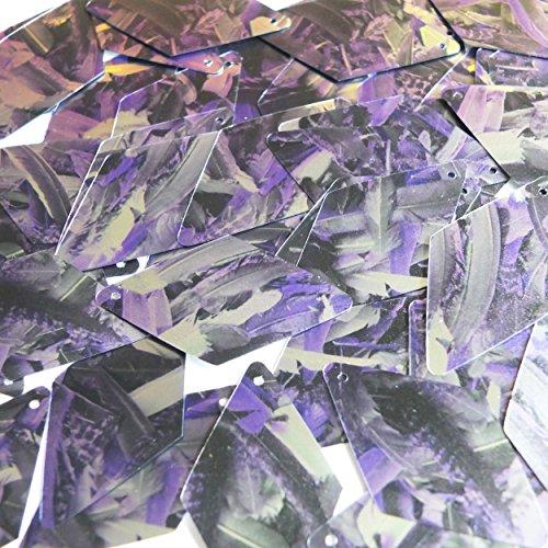 スパンコール長いダイヤモンド1.75`パープルシルバーBird Feathers印刷メタリックの商品画像
