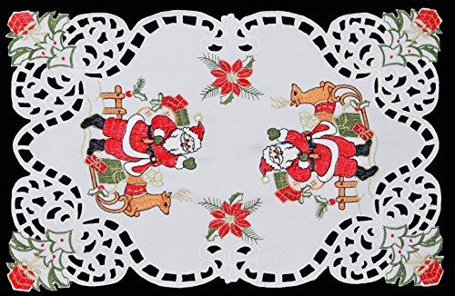 2-pcs-holiday-christmas-santa-reindeer-placemat-mantel-scarf-white-11x17