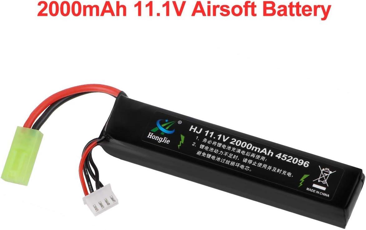 FancyWhoop 11.1V Batería Airsoft 2000mAh 30C Batería Recargable Hobby LiPo con Mini Conector Tamiya para Pistolas Airsoft Rifle Airsoft