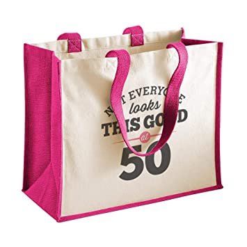 Bolsa de lona de algodón de 50 cumpleaños - Para mujer - Como regalo, recuerdo o para hacer la compra - Natural - 33 x 42 x 19 cm: Amazon.es: Hogar