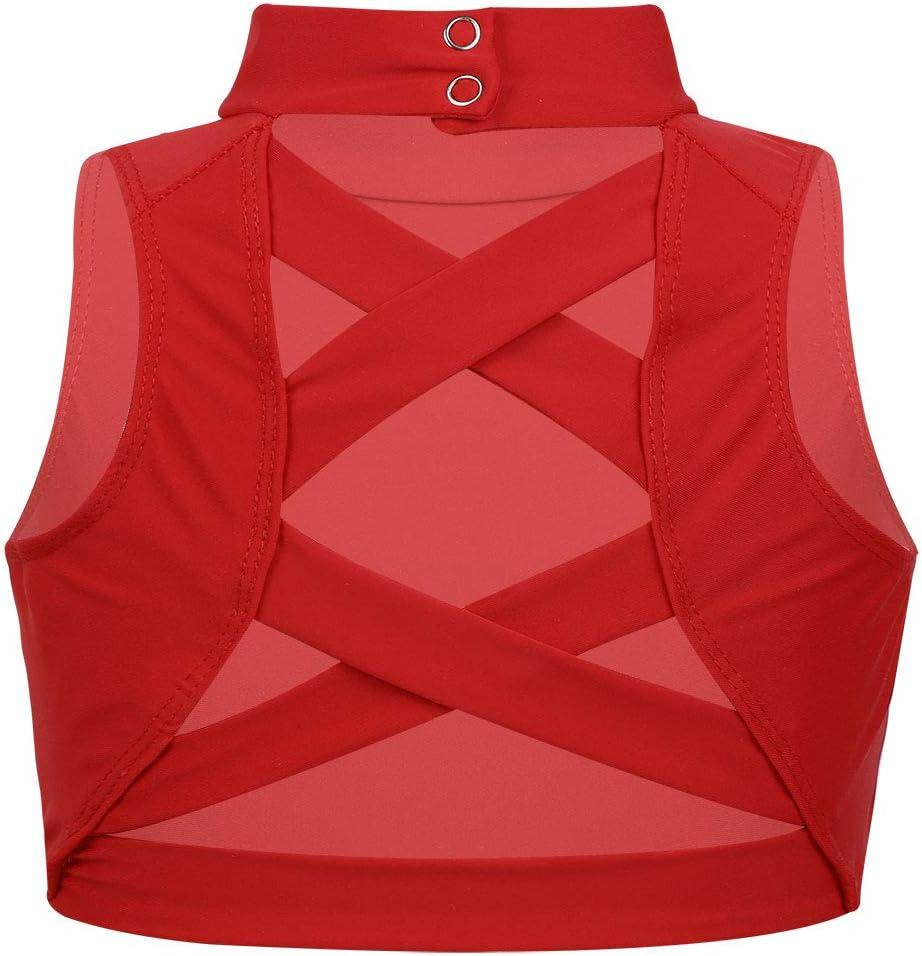 iixpin Kids Girls Sports Bra Criss Cross Back Crop Top Ballet Dance Mock Neck Tank Tops Sleeveless Dancewear